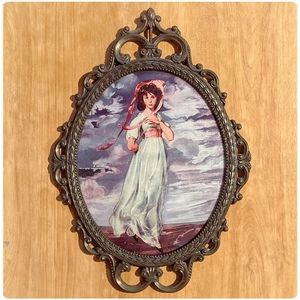 Victorian 'Pinkie' print in bronze oval frame